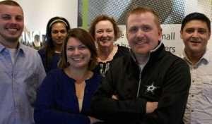 NCR Silver's customer care team (from left): Logan Pounders, Kim Panchal, Lindsey Lisk, Catherine Preuit, Douglas Jones and Alberto Polanco